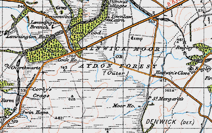 Old map of Alnwick Moor or Aydon Forest (Outer) in 1947