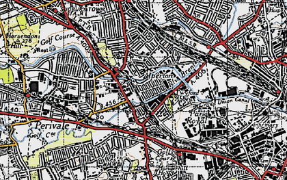 Old map of Alperton in 1945