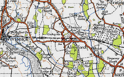 Old map of Alresford Hall in 1945