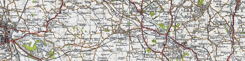 Old map of Alsager in 1947