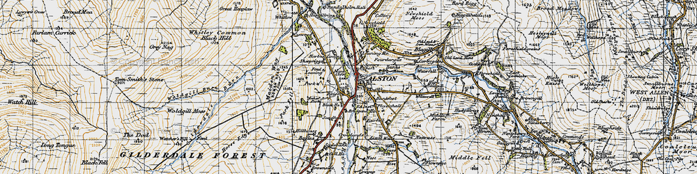 Old map of Alston in 1947
