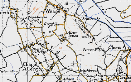 Old map of Alston Sutton in 1946