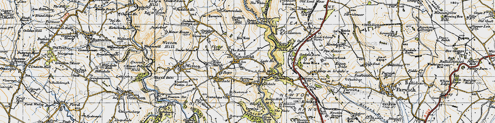 Old map of Alstonefield in 1947