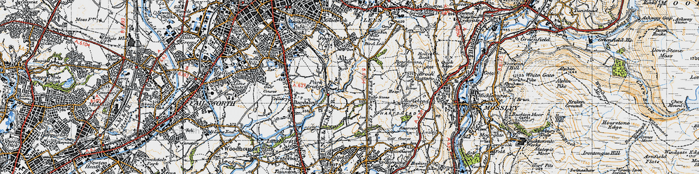 Old map of Alt Hill in 1947