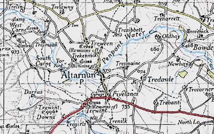 Old map of Altarnun in 1946