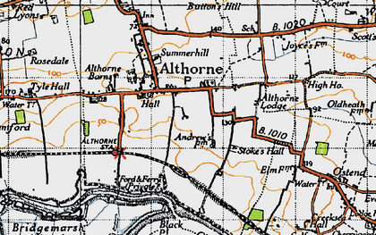 Old map of Althorne Sta in 1945