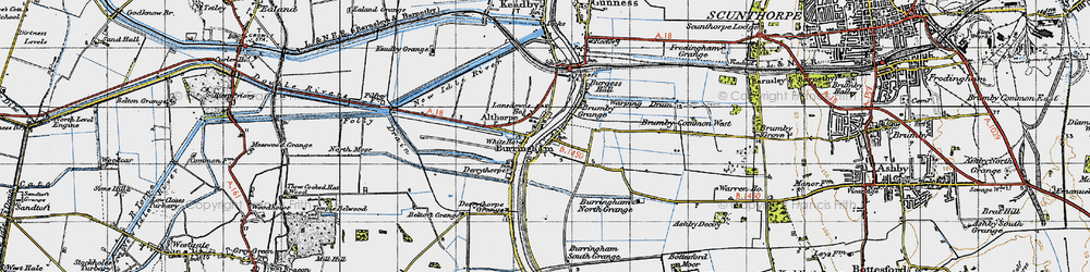Old map of Althorpe in 1947