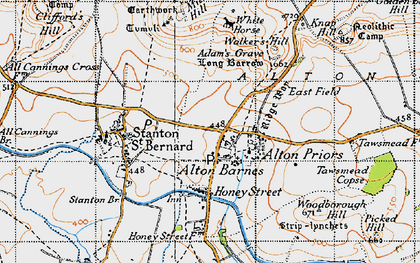 Old map of Alton Barnes in 1940