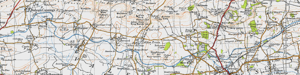 Old map of Adam's Grave (Long Barrow) in 1940