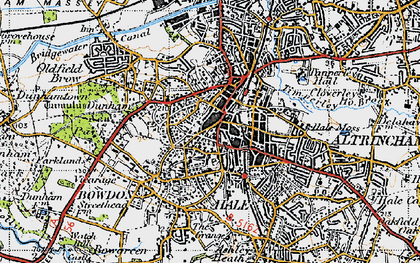 Old map of Altrincham in 1947