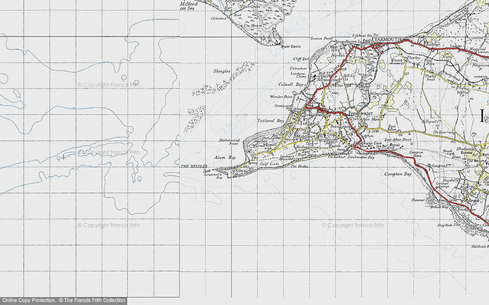 Old Map of Historic Map covering The Needles in 1940