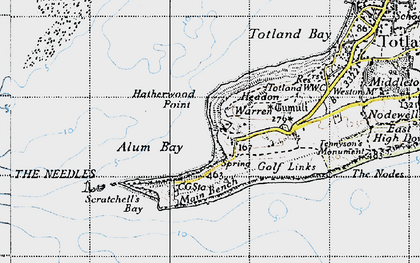 Old map of Alum Bay in 1940