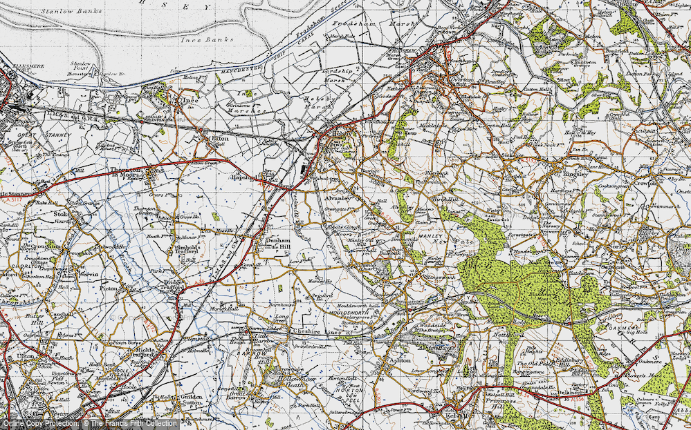 Old Map of Historic Map covering Alvanley Cliff in 1947