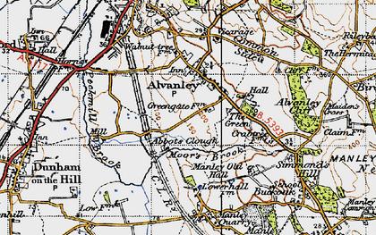 Old map of Alvanley Cliff in 1947