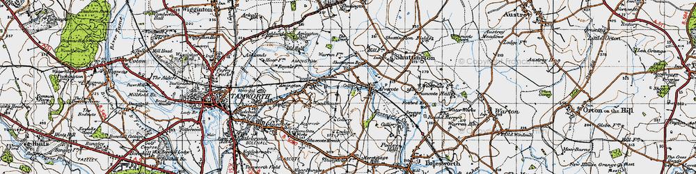 Old map of Alvecote in 1946