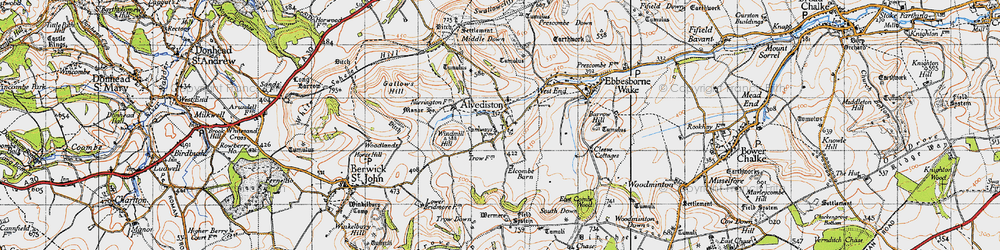 Old map of Alvediston in 1940