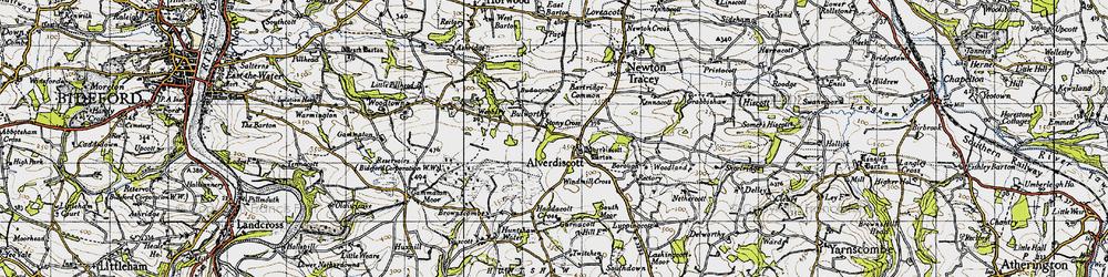 Old map of Lashingcott Moor in 1946