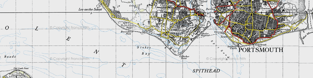 Old map of Alverstoke in 1945