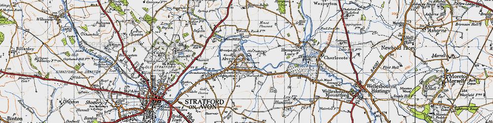 Old map of Alveston Ho in 1947