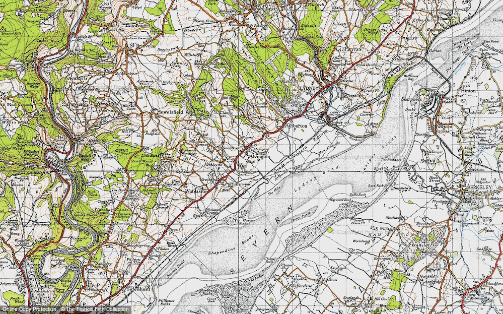 Old Map of Historic Map covering Aylburton Warth in 1946