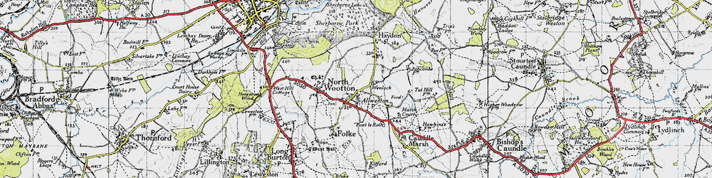 Old map of Alweston in 1945