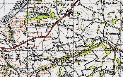 Old map of Alwington in 1946