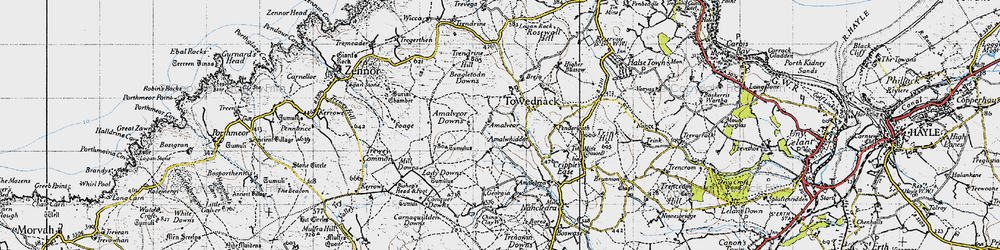 Old map of Amalveor Downs in 1946