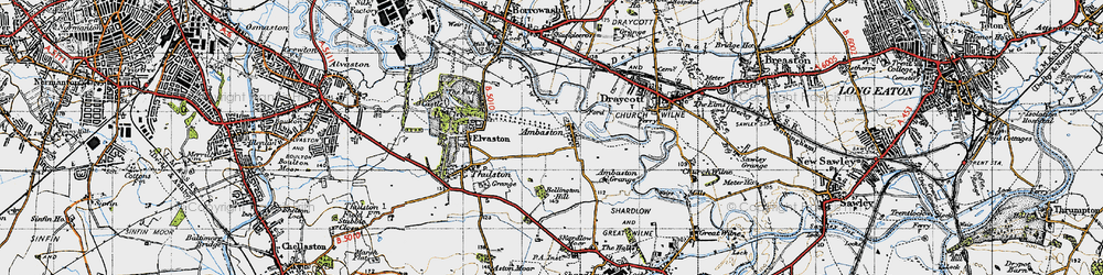 Old map of Ambaston in 1946