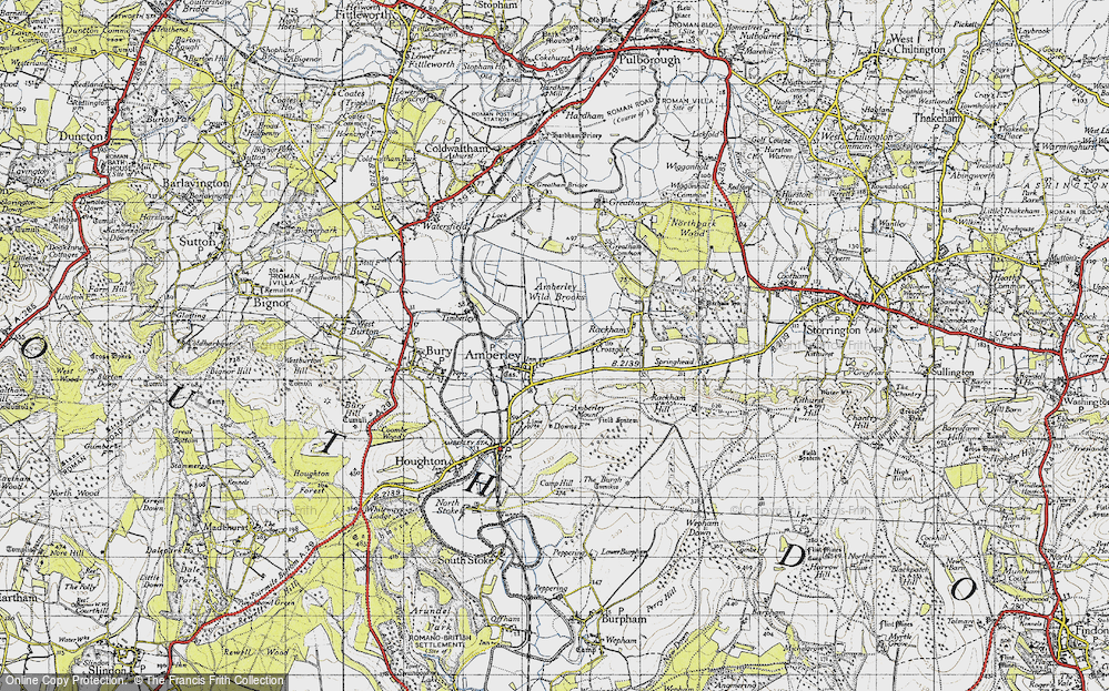 Old Map of Historic Map covering Amberley Wild Brooks in 1940