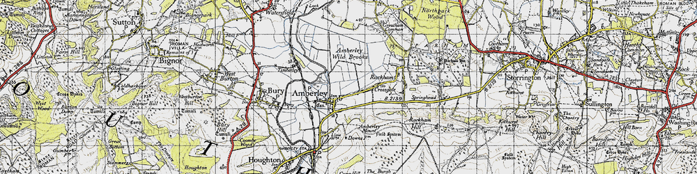 Old map of Amberley Wild Brooks in 1940