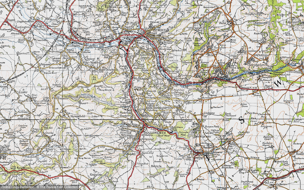 Old Map of Historic Map covering Whitfield's Tump (Long Barrow) in 1946