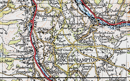 Old map of Whitfield's Tump (Long Barrow) in 1946