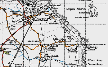 Old map of Amble in 1947