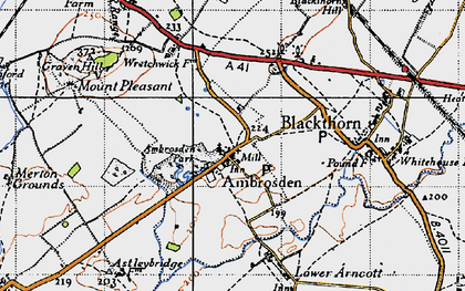 Old map of Ambrosden in 1946
