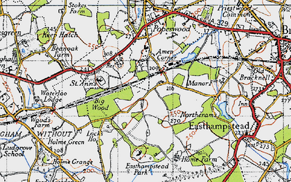 Old map of Amen Corner in 1940