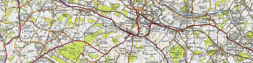 Old map of Amersham Old Town in 1946