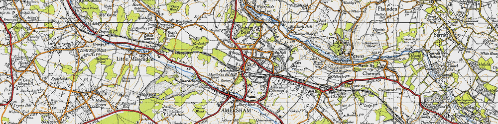 Old map of Amersham on the Hill in 1946