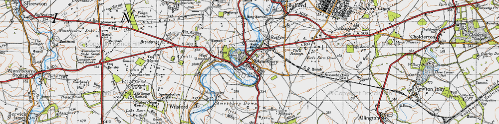Old map of Amesbury in 1940
