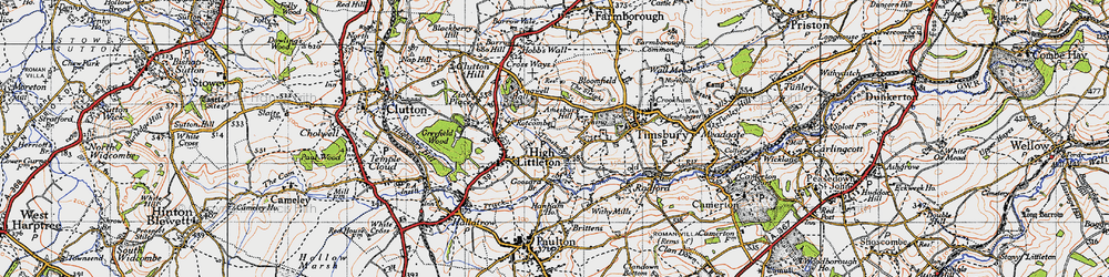 Old map of Timsbury Bottom in 1946