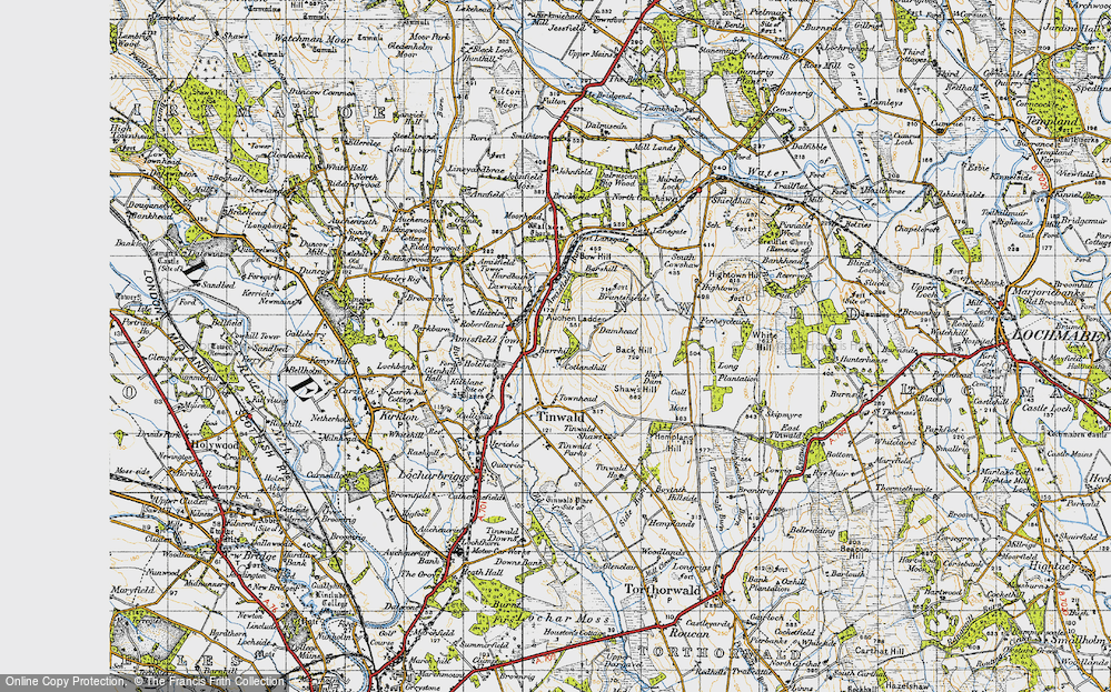 Old Map of Historic Map covering Auchen Ladder in 1947
