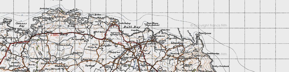 Old map of Amlwch in 1947