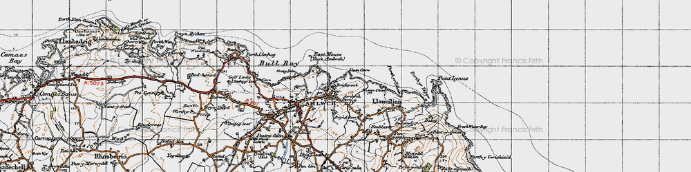Old map of Amlwch Port in 1947