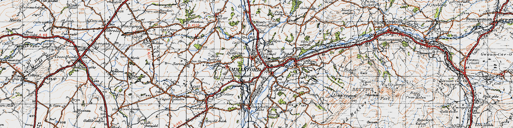 Old map of Ammanford in 1947