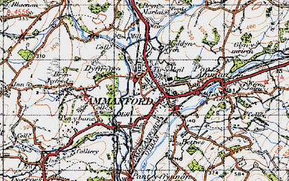 Old map of Ammanford/Rhydaman in 1947