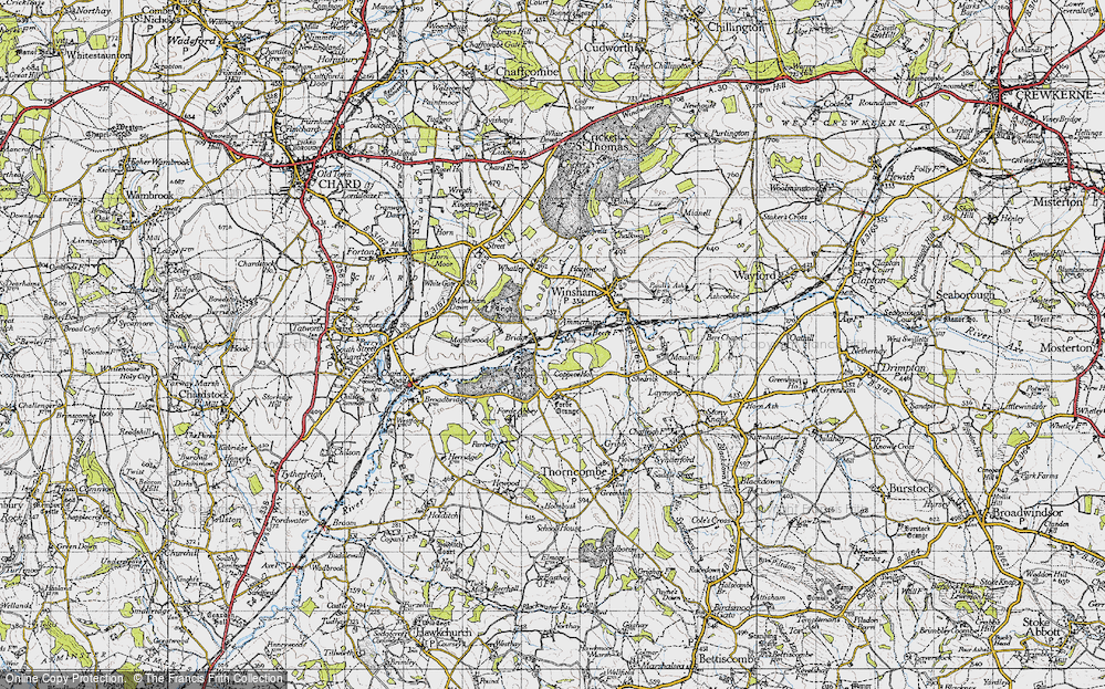 Old Map of Historic Map covering Forde Abbey in 1945