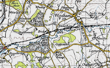 Old map of Forde Abbey in 1945