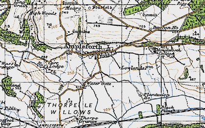 Old map of Ampleforth in 1947