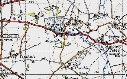 Old map of Ampney Crucis in 1947
