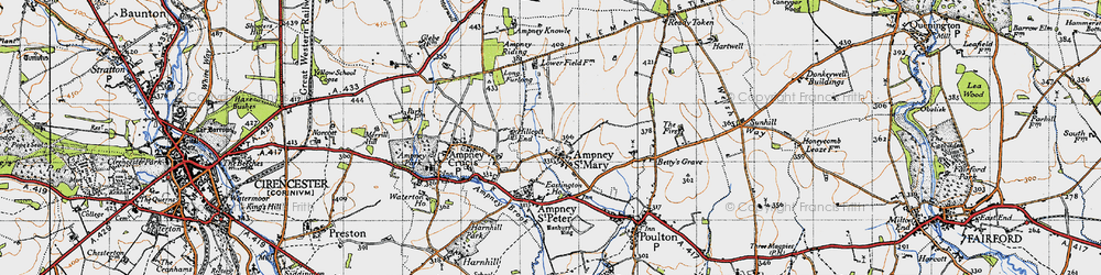 Old map of Ampney St Mary in 1947