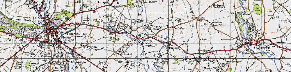 Old map of Ampney St Peter in 1947